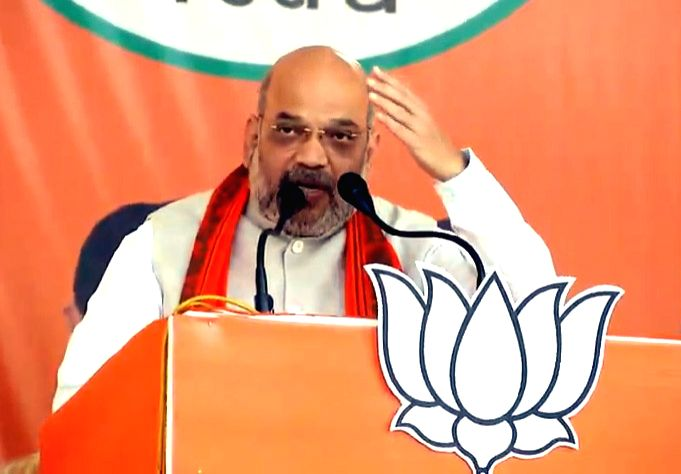 Keonjhar: BJP chief Amit Shah addresses a public rally in Odisha's Keonjhar, on April 12, 2019. (Photo: IANS) - Amit Shah