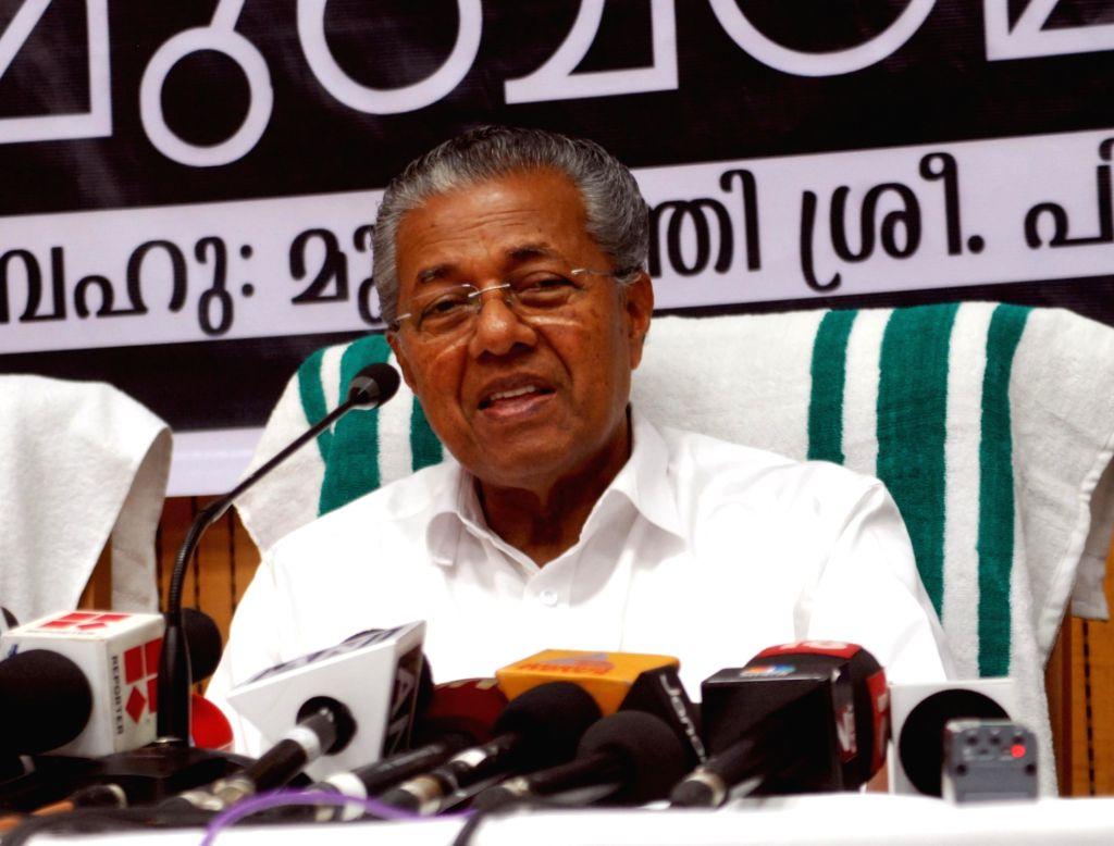 Kerala Chief Minister Pinarayi Vijayan addresses a press conference, in New Delhi on June 18, 2016. - Pinarayi Vijayan