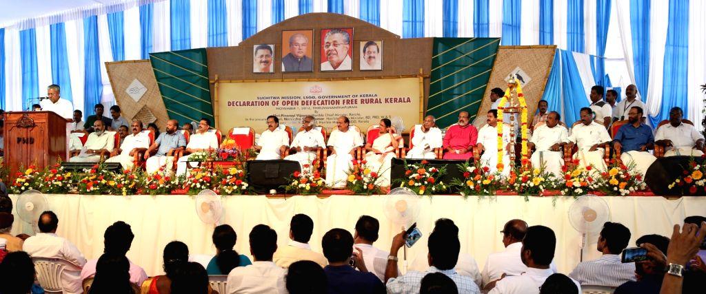 Kerala Chief Minister Pinarayi Vijayan addresses during the declaration of the Open Defecation Free (ODF) Kerala State, under the Swachh Bharat Mission in Thiruvananthapuram on ... - Pinarayi Vijayan