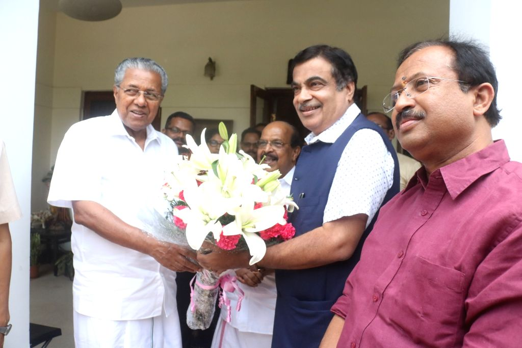 Kerala Chief Minister Pinarayi Vijayan meets Union Minister for Road Transport and Highways, Shipping and Micro, Small and Medium Enterprises Nitin Gadkari, in New Delhi on June 15, 2019. ... - Pinarayi Vijayan
