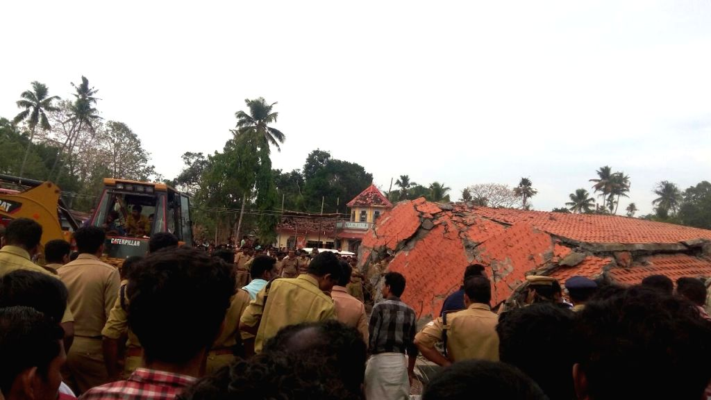 Kerala (Kollam): The Paravur Puttingal temple where 96 people lost their lives following an accident caused by a firework display on April 10, 2016 in Kollam district of Kerala, about 60 km from ...