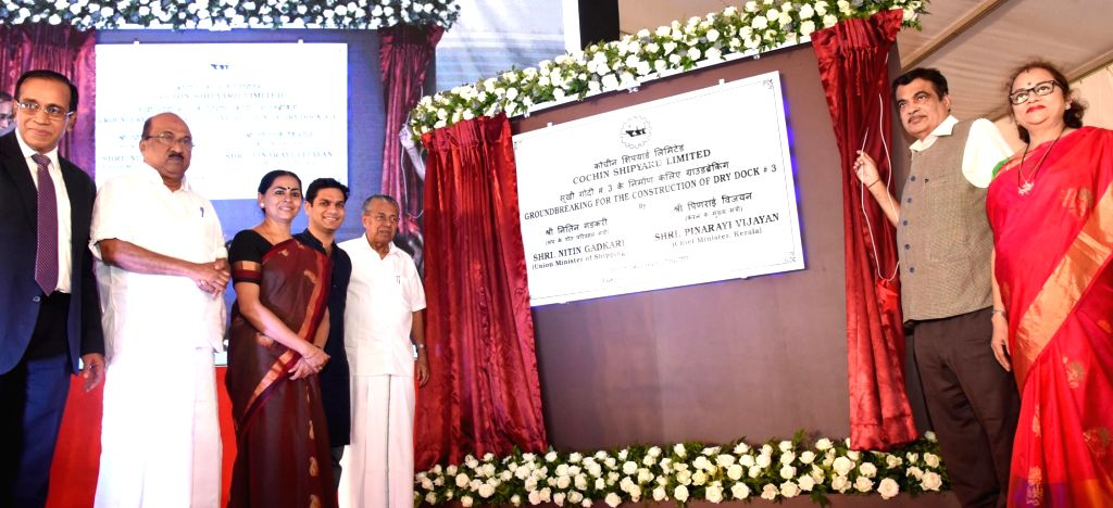 : Kerala: Union Road Transport and Highways and Shipping Minister Nitin Gadkari unveils the plaque at ground breaking ceremony of 310 metre dry dock at Cochin Shipyard along with Kerala Chief ...