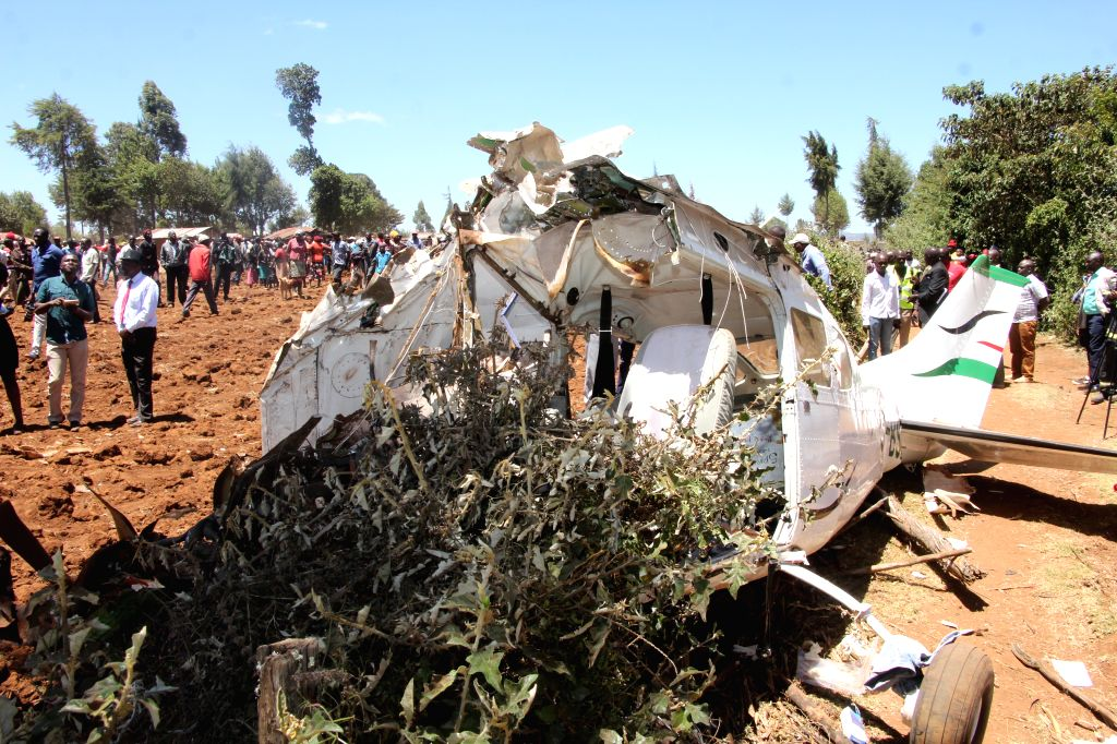KERICHO, Feb. 13, 2019 - Photo taken on Feb. 13, 2019 shows the crash site of a plane in Kericho County in northwest Kenya.Five foreigners were killed when a light aircraft crashed in Kericho County ...