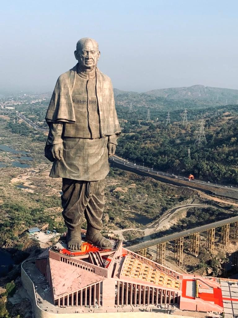 Kevadia (Gujarat): The 'Statue of Unity' that was unveiled by Prime Minister Narendra Modi in honour of country's first Home Minister Sardar Vallabhbhai Patel in Kevadia, Gujarat on Oct 31, 2018. - Narendra Modi and Sardar Vallabhbhai Patel