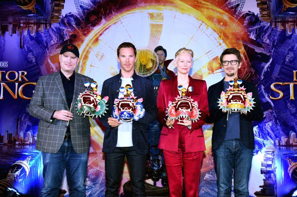 Kevin Feige with Benedict Cumberbatch, Tilda Swinton, Scott Derrickson