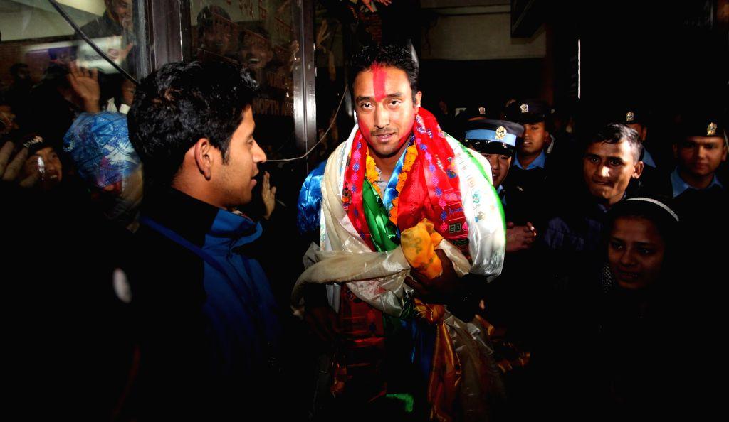 Khadka slams first-ever T20I century for Nepal. (Xinhua/Sunil Sharma/IANS) - Sunil Sharma