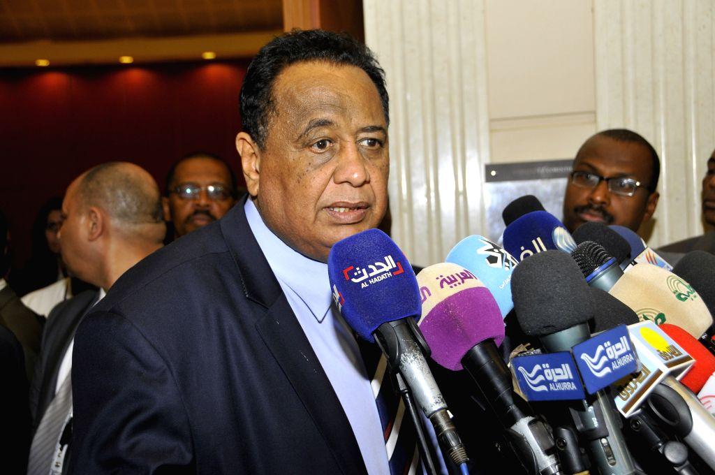 KHARTOUM, April 6, 2018 - Sudan's Foreign Minister Ibrahim Ghandour speaks to media in Khartoum, Sudan, on April 6, 2018. Sudan's Foreign Minister Ibrahim Ghandour on Friday announced suspension of ... - Ibrahim Ghandour