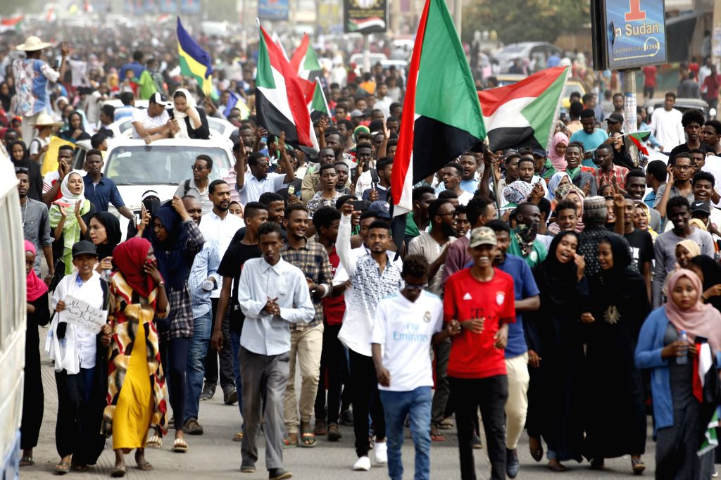 KHARTOUM, Aug. 1, 2019 - Sudanese people take part in a demonstration in Khartoum, Sudan, on Aug. 1, 2019. Five people were killed and dozens of others injured during a shooting attack in El Obeid ...