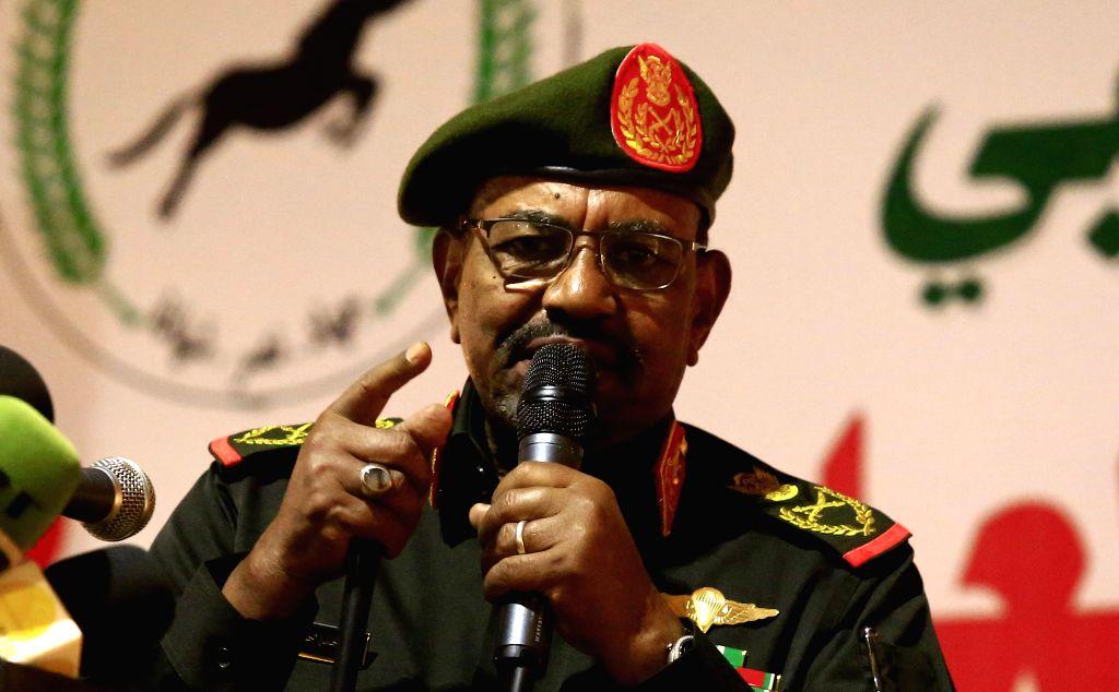 KHARTOUM, Feb. 13, 2019 - Sudanese President Omar al-Bashir addresses a celebration of the Popular Defense Forces in Khartoum, Sudan, Feb. 13, 2019. Omar al-Bashir said on Wednesday that 2019 would ...