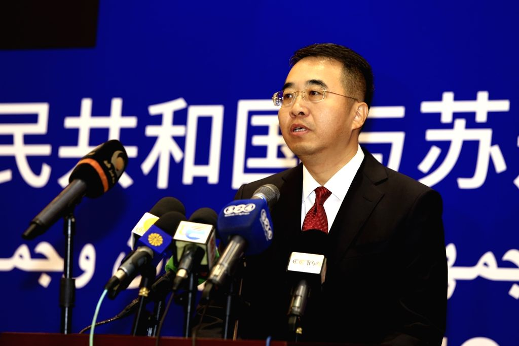 KHARTOUM, Feb. 21, 2019 - Chinese Ambassador to Sudan Ma Xinmin delivers a speech at a ceremony celebrating the 60th anniversary of the establishment of diplomatic relations between China and Sudan, ...