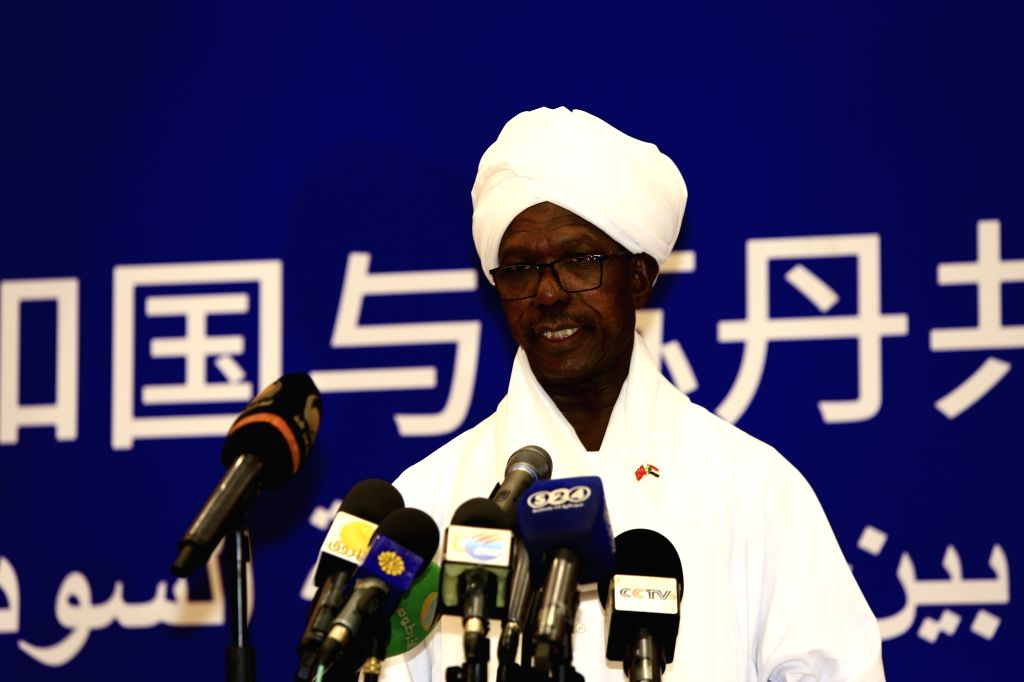 KHARTOUM, Feb. 21, 2019 - Faisal Hassan Ibrahim, Sudanese presidential assistant and deputy chairman of the ruling National Congress Party (NCP), delivers a speech at a ceremony celebrating the 60th ... - Hassan Ibrahim