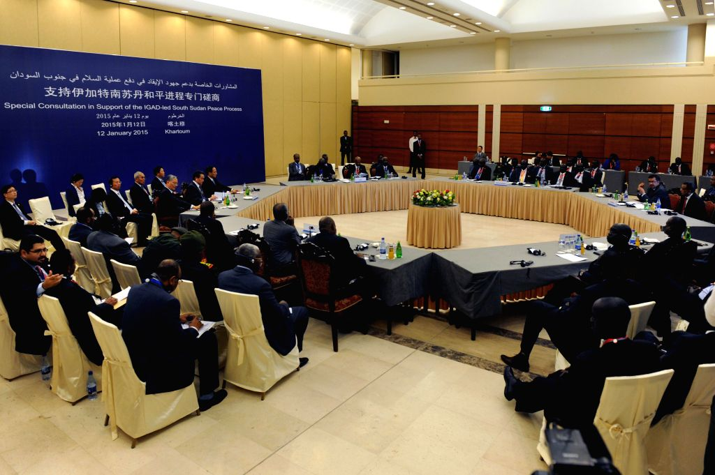 A consultation with the Inter-Governmental Authority for Development (IGAD) and the South Sudan conflicting parties is held in Khartoum, Sudan, Jan. 12, 2015. ...