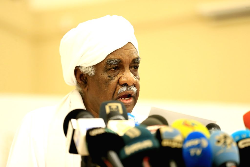 KHARTOUM, July 17, 2019 - Ibrahim Al-Amin, a leading member in the Freedom and Change Alliance, speaks to reporters after the signing of the Political Declaration with Sudan's Transitional Military ...