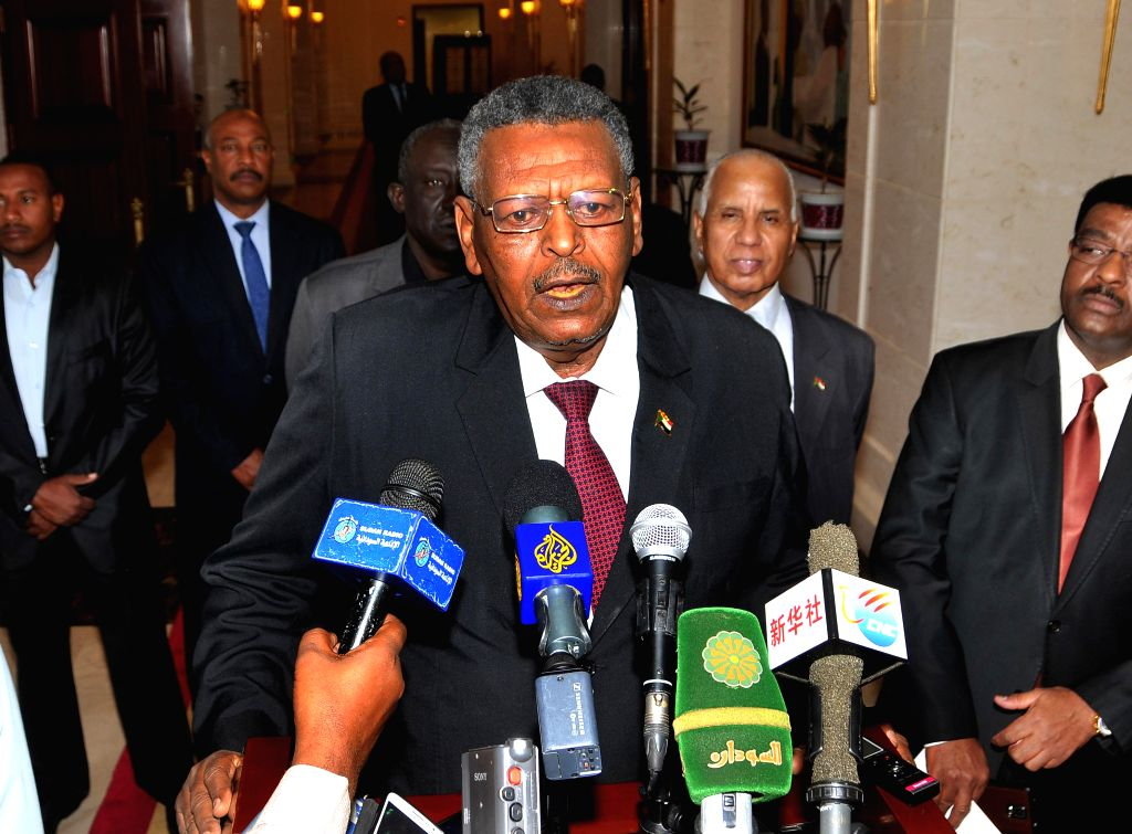 KHARTOUM, March 2, 2017 - Sudan's Prime Minister Bakri Hassan Saleh speaks to media after his swearing-in ceremony in Khartoum, Sudan, March 2, 2017. Sudanese First Vice-President Bakri Hassan Saleh ... - Bakri Hassan Saleh