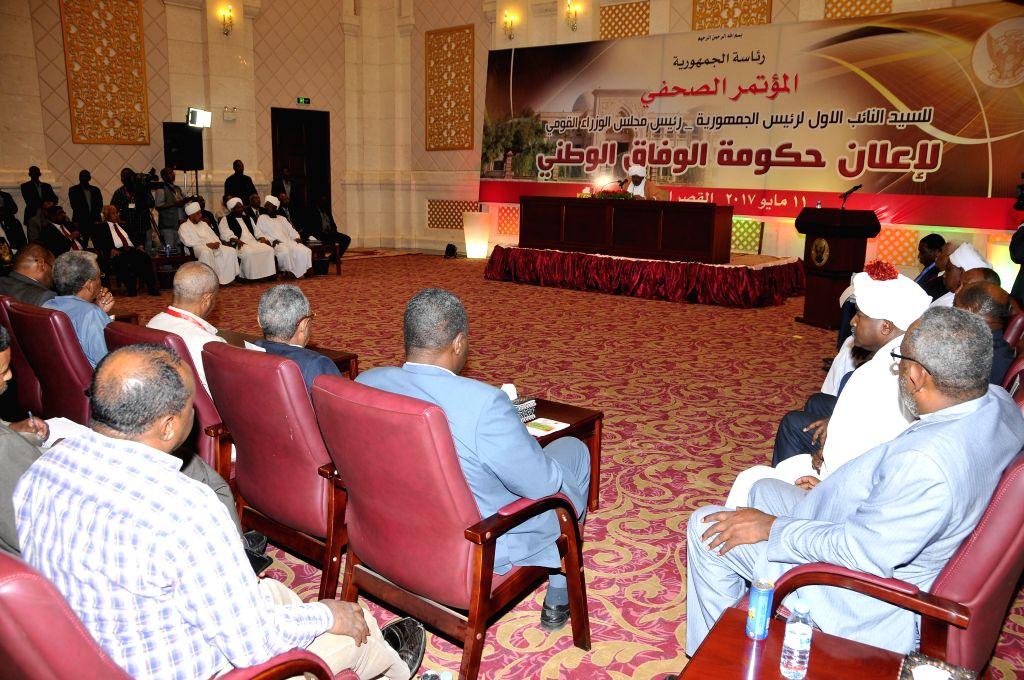 KHARTOUM, May 11, 2017 - Sudan's Prime Minister Hassan Saleh (C) attends a press conference in Khartoum, Sudan on May 11, 2017. Sudan's Prime Minister Hassan Saleh on Thursday announced a new ... - Hassan Saleh