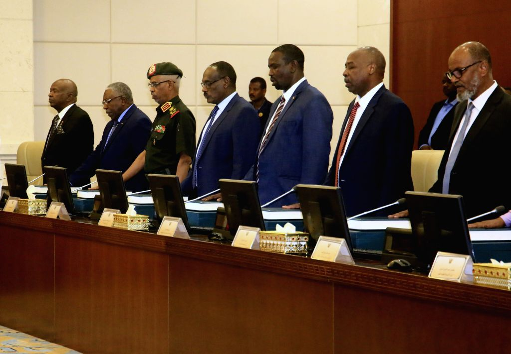 KHARTOUM, Sep. 15, 2018 - Ministers of Sudan's new government attend the oath-taking ceremony in Khartoum, Sudan, Sept. 15, 2018. Ministers of Sudan's new government on Saturday took the ...