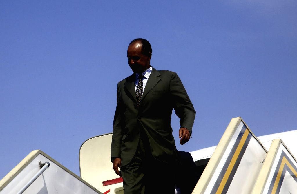 KHARTOUM, Sept. 14, 2019 - Eritrean President Isaias Afwerki arrives at the Khartoum Airport in Khartoum, Sudan, on Sept. 14, 2019. Eritrean President Isaias Afwerki on Saturday arrived in Khartoum ...