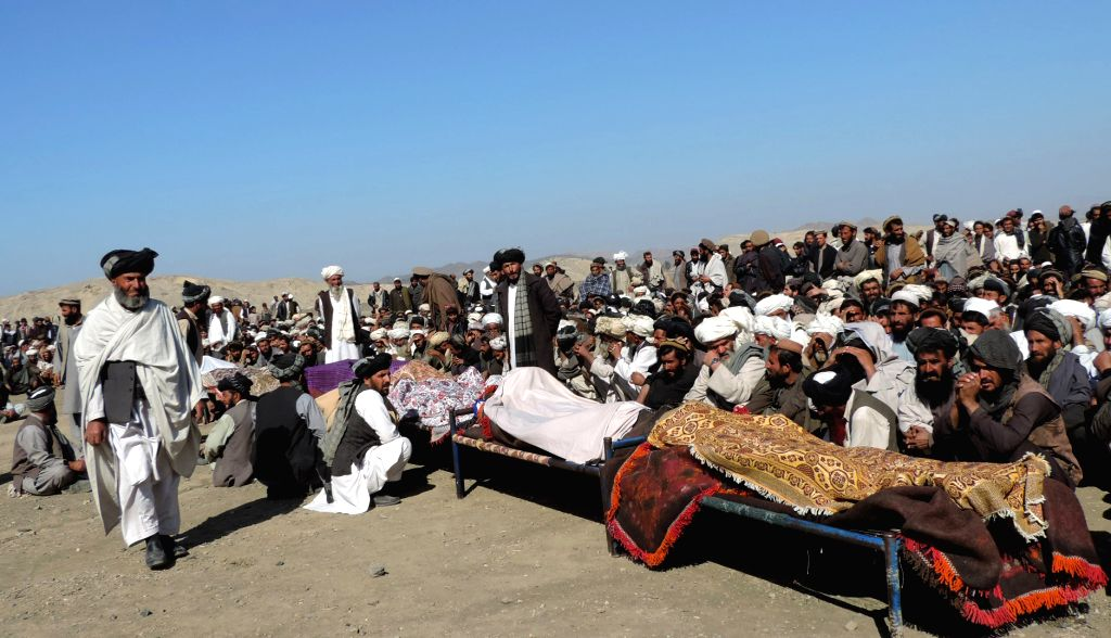 KHOST, Feb. 8 People gather near the bodies of civilians who were killed by pro-government forces in Ali Sher district of Khost province, Afghanistan, Feb. 8, 2018. At least 11 civilians ...