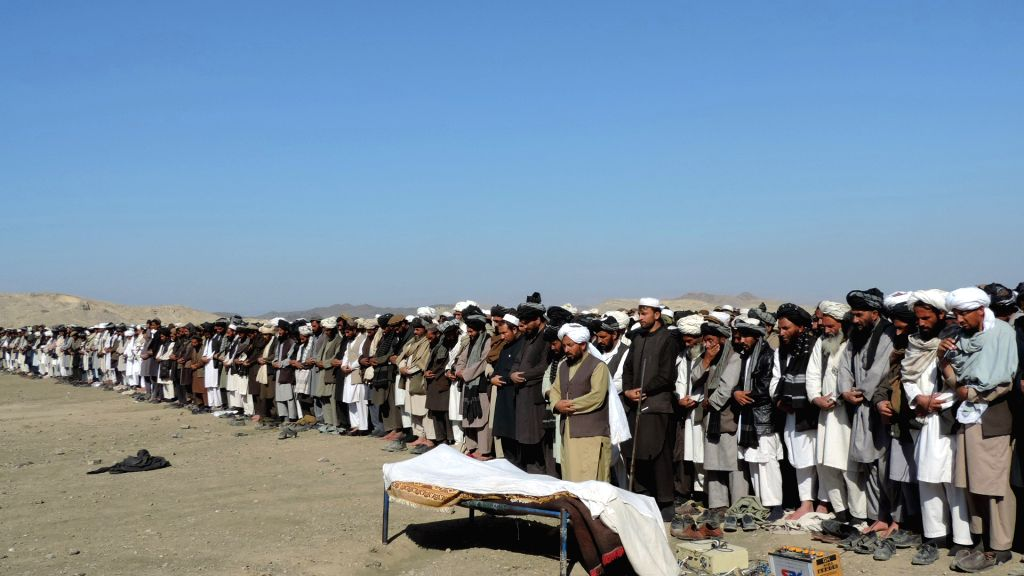 KHOST, Feb. 8 People offer funeral prayers for a civilian who was killed by pro-government forces in Ali Sher district of Khost province, Afghanistan, Feb. 8, 2018. At least 11 civilians ...