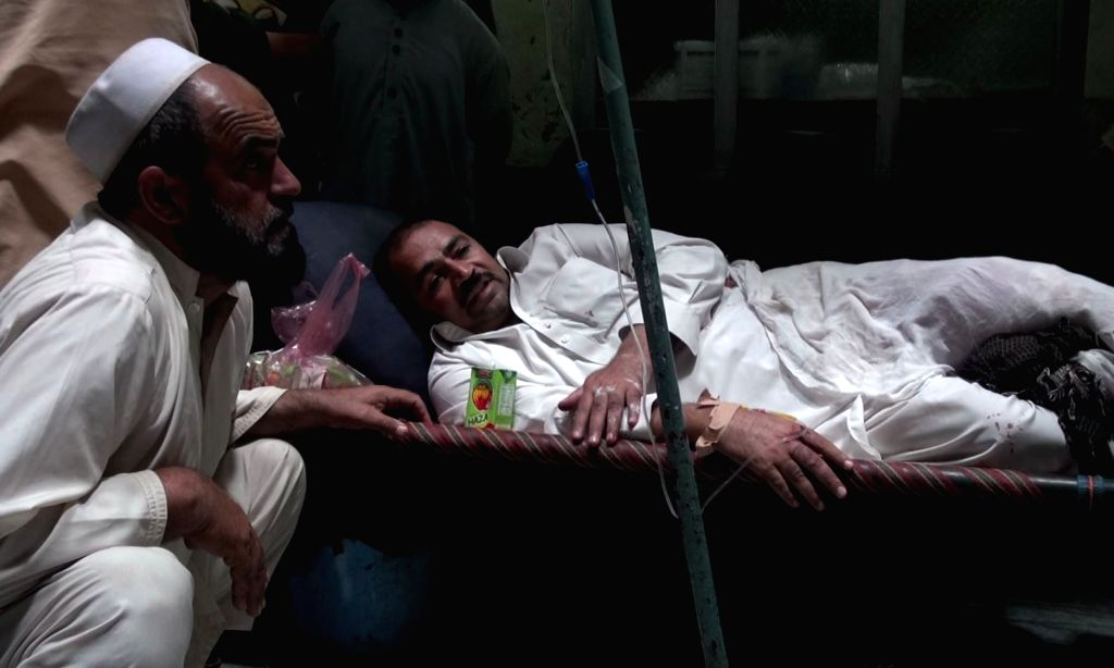 KHOST, Sept. 17, 2017 - An injured man receives medical treatment at a local hospital in Khost province, Afghanistan, Sept. 17, 2017. Four people have been confirmed dead and 13 others injured as a ...