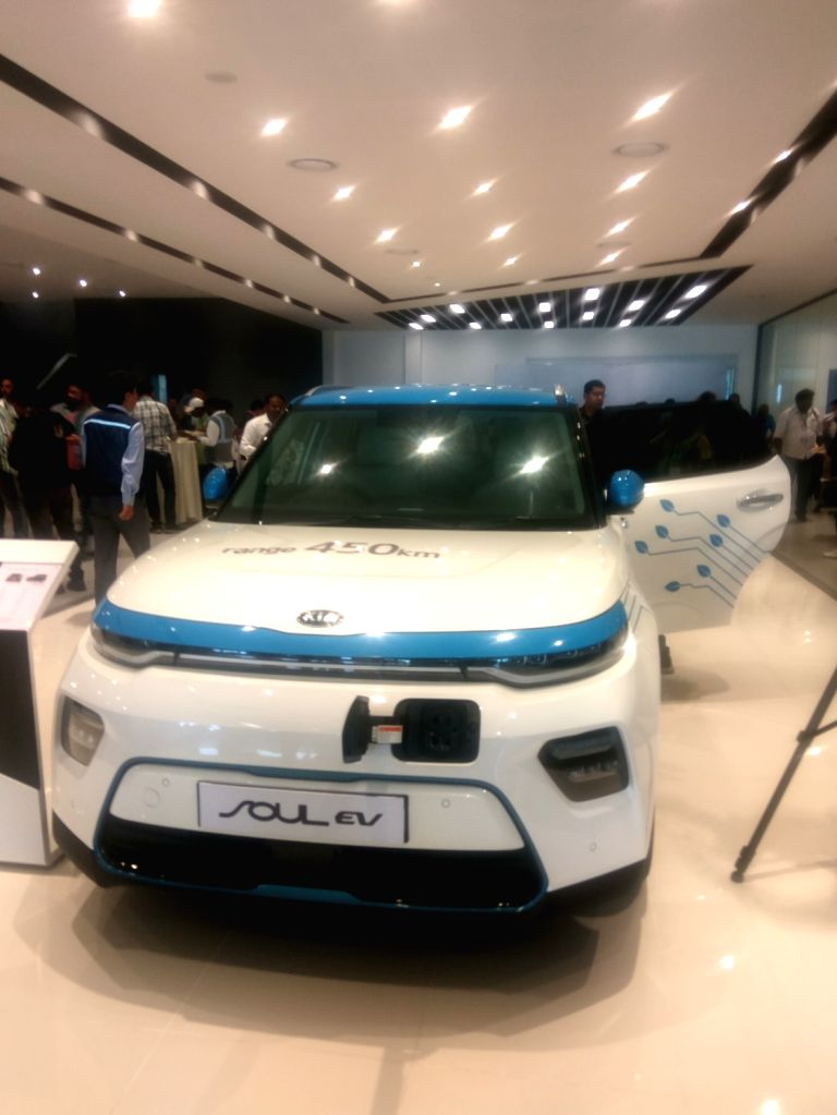 Kia Soul EV SUV at the Anantapur plant of Kia Motors in Andhra Pradesh during the trial production ceremony, on Jan 29, 2019.