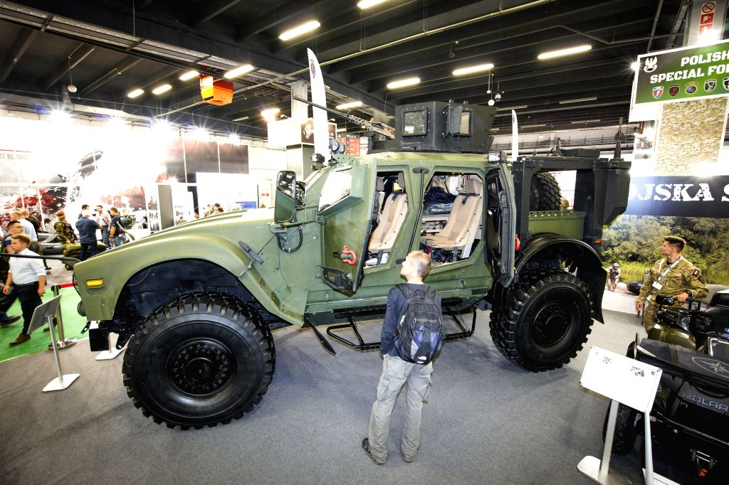 KIELCE (POLAND), Sept. 5, 2019 An M-ATV or mine resistant ambush protected vehicle is displayed at the 27th International Defence Industry Exhibition in Kielce, Poland, on Sept. 5, 2019. ...