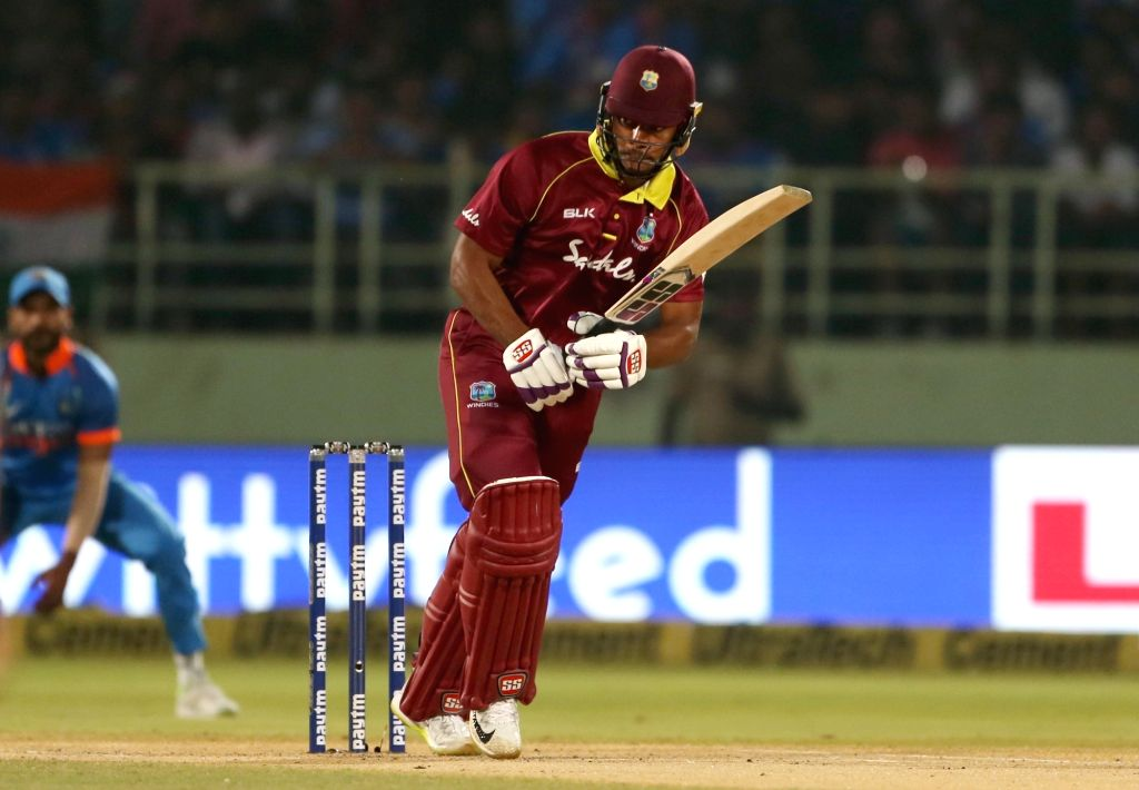 Kieran Powell of West Indies in action during the second ODI match between India and West Indies at Dr. Y.S. Rajasekhara Reddy ACA-VDCA Cricket Stadium in Visakhapatnam, on Oct 24, ...