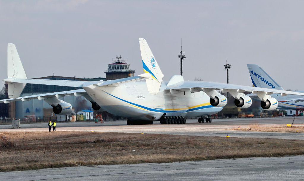 KIEV, April 4, 2018 - The world's biggest plane, the Antonov An-225 Mriya, is seen in an airport outside Kiev, Ukraine, April 3, 2018. The world's biggest plane, the Antonov An-225 Mriya, took to the ...