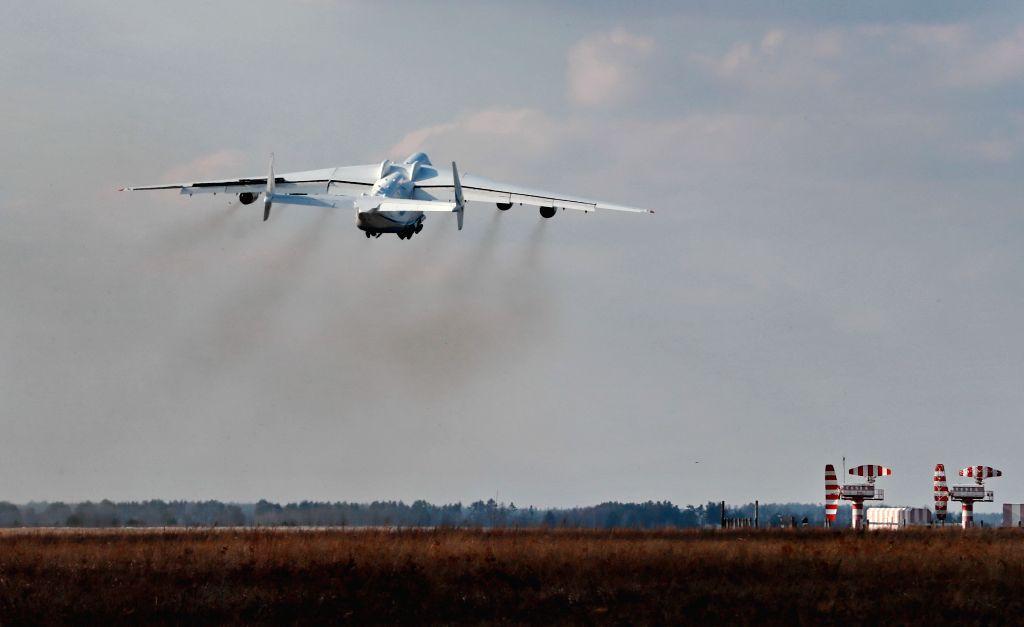 KIEV, April 4, 2018 - The world's biggest plane, the Antonov An-225 Mriya, takes off from an airport outside Kiev, Ukraine, April 3, 2018. The world's biggest plane, the Antonov An-225 Mriya, took to ...