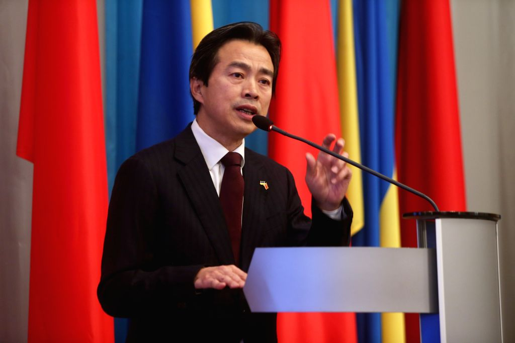 KIEV, Jan. 13, 2017 - Chinese Ambassador to Ukraine Du Wei gives a speech during the openning ceremony of the photo exhibition in Kiev, Ukraine, Jan. 12, 2017. China and Ukraine on Thursday marked ...