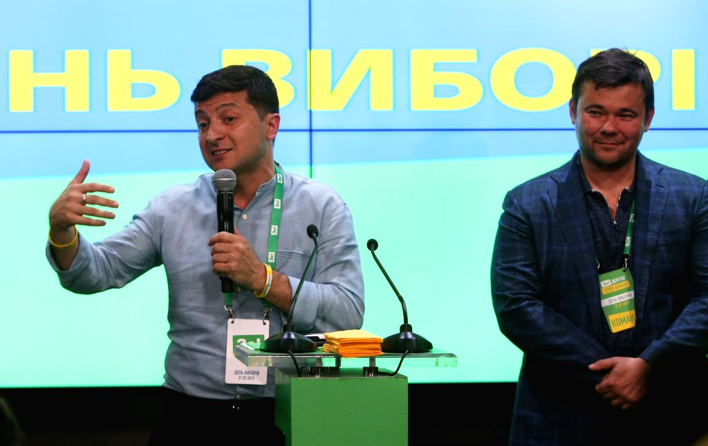 KIEV, July 22, 2019 - Ukrainian President Volodymyr Zelensky (L) speaks while celebrating the winning of the Servant of the People party in the nation's snap parliamentary elections in Kiev, Ukraine, ...