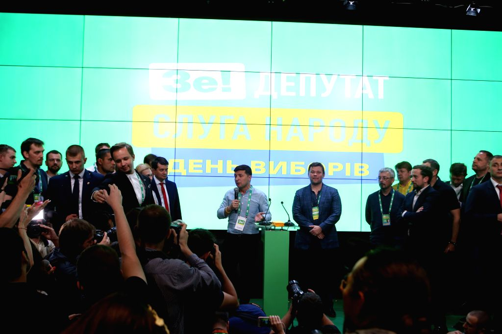 KIEV, July 22, 2019 - Ukrainian President Volodymyr Zelensky speaks while celebrating the winning of the Servant of the People party in the nation's snap parliamentary elections in Kiev, Ukraine, on ...