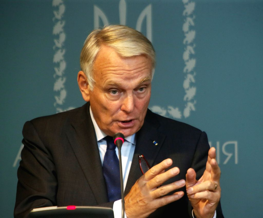 KIEV, Sept. 15, 2016 - French Foreign Minister Jean-Marc Ayrault attends a press conference in Kiev, capital of Ukraine, on Sept. 14, 2016. Visiting German and French foreign ministers on Wednesday ... - Jean-Marc Ayrault