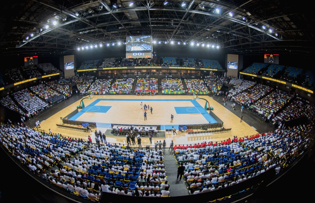 KIGALI, Aug. 10, 2019 - Photo taken on Aug. 9, 2019 shows the interior view of a newly-built indoor sports complex named Kigali Arena in Kigali, capital city of Rwanda. Rwandan President Paul Kagame ...