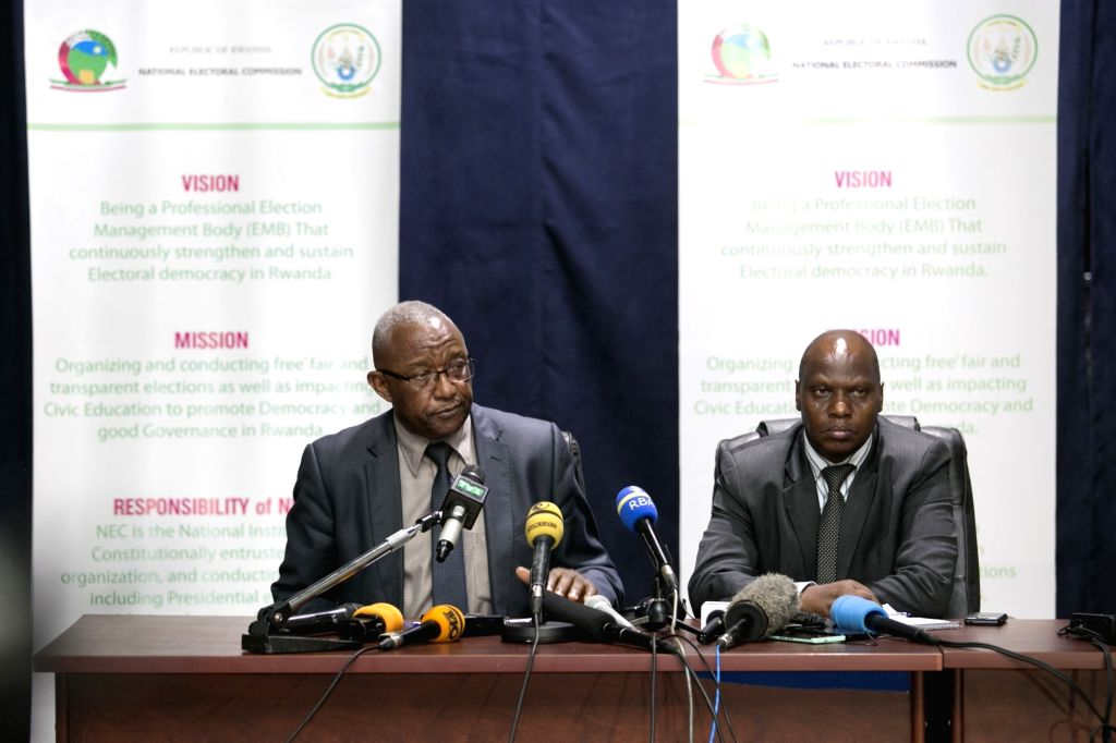 KIGALI, Aug. 3, 2017 - Kalisa Mbanda (L), chairperson of National Electoral Commission (NEC) of Rwanda, and Charles Munyaneza, the executive secretary of NEC, address a press conference on the ...