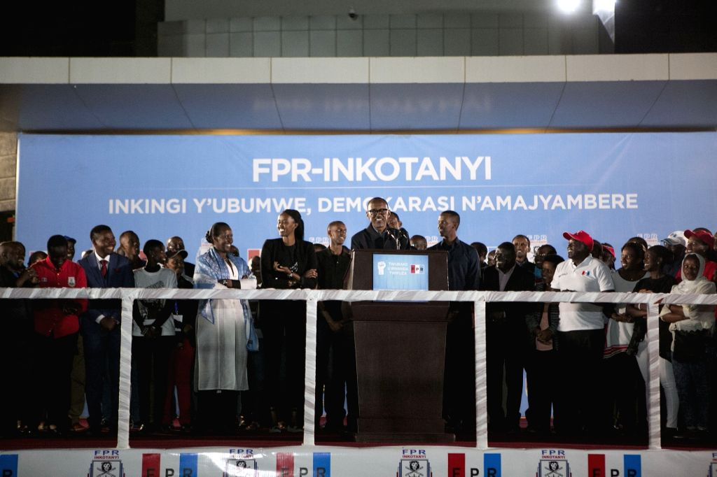 KIGALI, Aug. 5, 2017 - Rwandan presidential candidate, the incumbent President Paul Kagame (C, Front), addresses supporters in Kigali, capital of Rwanda, on Aug. 5, 2017. The Rwandan National ...