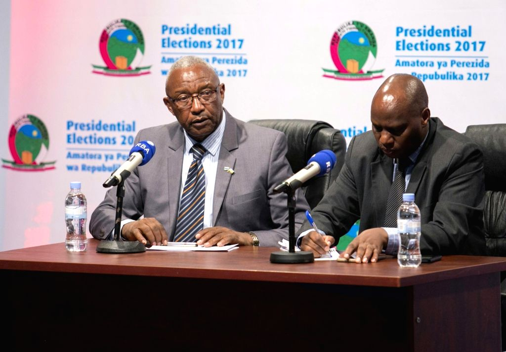 KIGALI, Aug.6, 2017 - Kalisa Mbanda(L), chairperson of Rwandan National Electoral Commission (NEC), speaks at a press conference in Kigali, captial of Rwanda, on Aug.5, 2017. NEC on Saturday declared ...