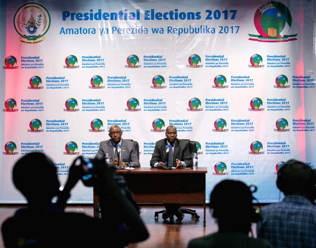 KIGALI, Aug.6, 2017 - Kalisa Mbanda(L), chairperson of Rwandan National Electoral Commission (NEC), and executive Secretary of NEC Charles Munyaneza (R) attend a press conference in Kigali, captial ...