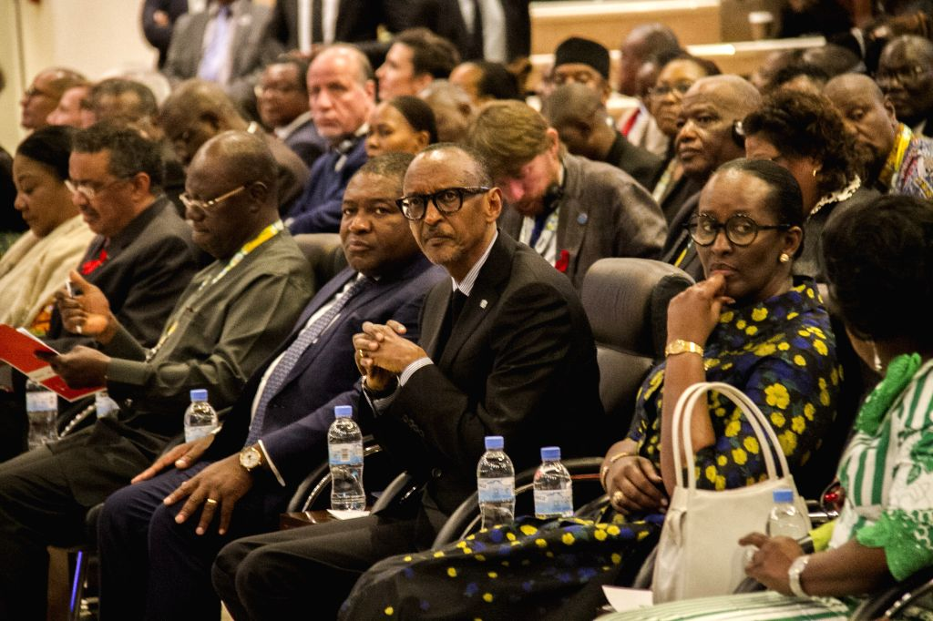 KIGALI, Dec. 3, 2019 - Rwanda's President Paul Kagame (3rd R) attends the opening ceremony of the International Conference on AIDS and Sexually Transmitted Infections in Africa (ICASA) in Kigali,  ...