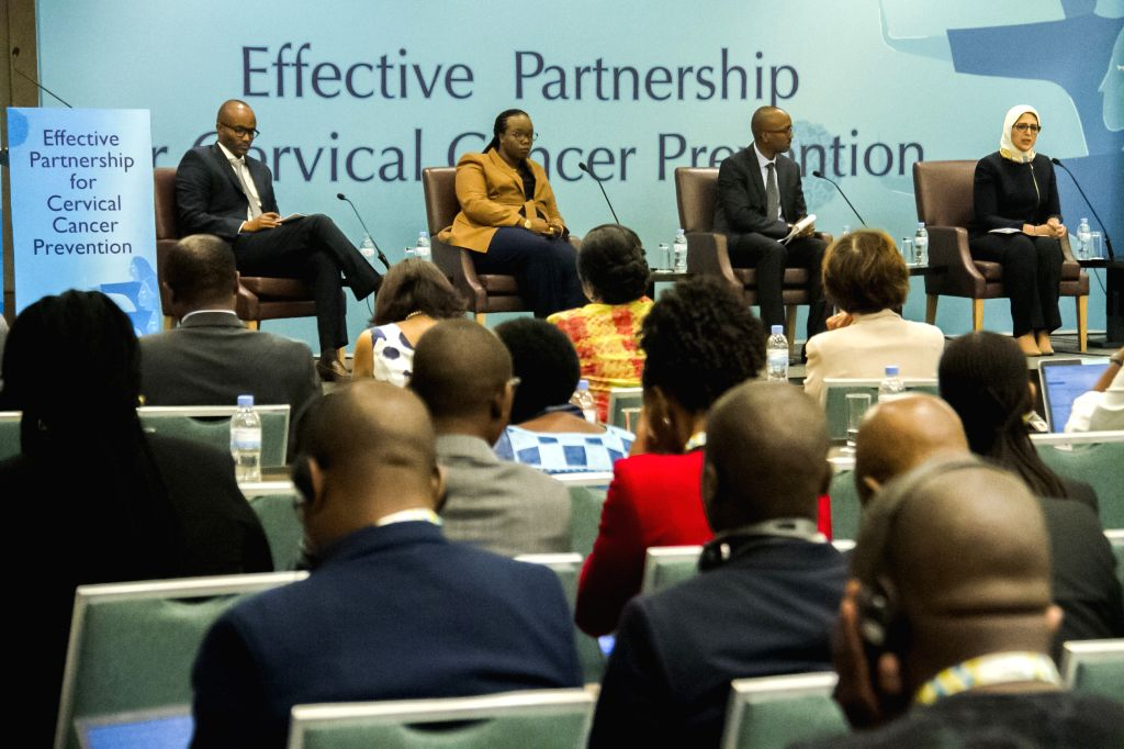 KIGALI, Dec. 4, 2019 - Participants attend a panel discussion at a side event on effective partnership for cervical cancer prevention of the ongoing International Conference on AIDS and Sexually ... - Diane Gashumba
