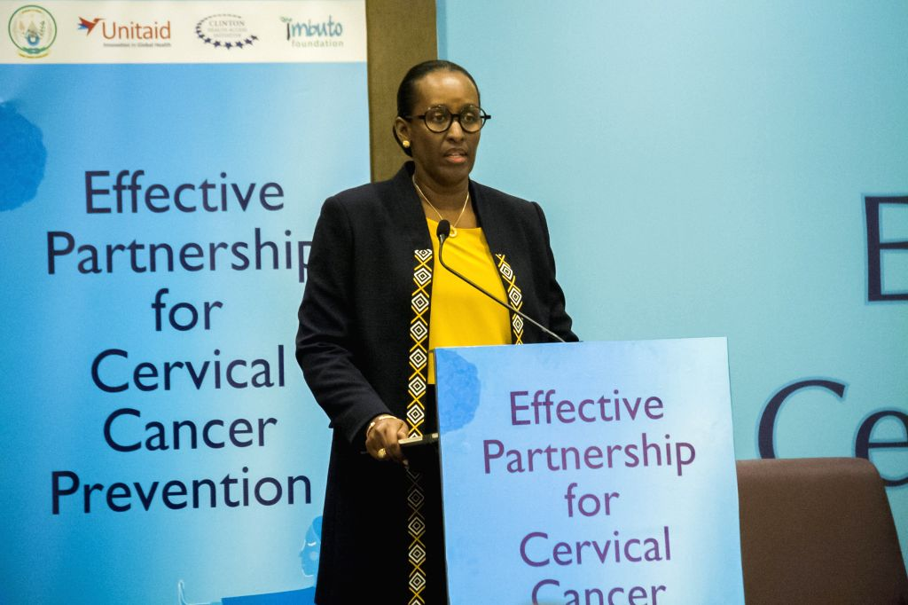 KIGALI, Dec. 4, 2019 - Rwandan First Lady Jeannette Kagame delivers a speech at a side event on effective partnership for cervical cancer prevention of the ongoing International Conference on AIDS ... - Diane Gashumba