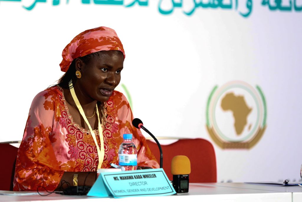 KIGALI, July 16, 2016 - Mahawa Kaba Wheeler, director of women, gender and development at the African Union Commission (AUC), speaks during a press conference in Kigali, capital of Rwanda, on July ...