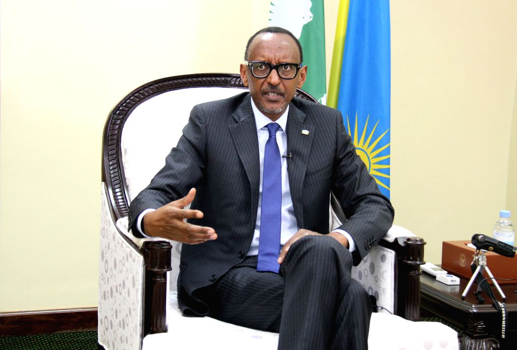 KIGALI, July 23, 2018 - Rwandan President Paul Kagame speaks during an interview with Chinese media in Kigali, Rwanda, July 17, 2018. The Rwanda-China relationship has grown stronger and the ...