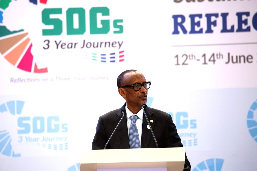 KIGALI, June 15, 2019 - Rwandan President Paul Kagame speaks during an international conference on the implementation of sustainable development goals (SDGs) in Africa, in Kigali, Rwanda, on June 14, ...