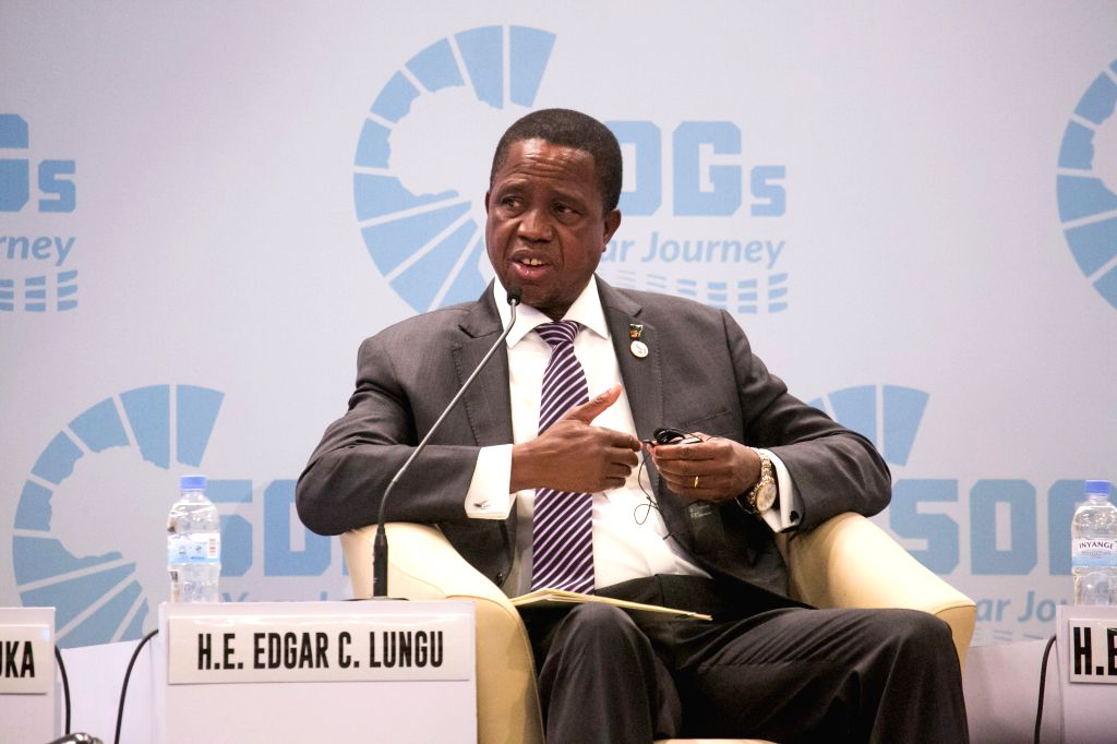 KIGALI, June 15, 2019 - Zambian President Edgar Lungu speaks at a panel discussion during an international conference on the implementation of sustainable development goals (SDGs) in Africa, in ...