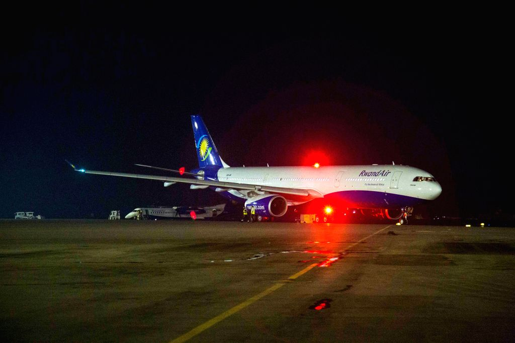 KIGALI, June 18, 2019 - An airplane of RwandAir bound for China's Guangzhou taxis at Kigali International Airport in Kigali, Rwanda, on June 18, 2019. Rwanda's national carrier RwandAir on Tuesday ...