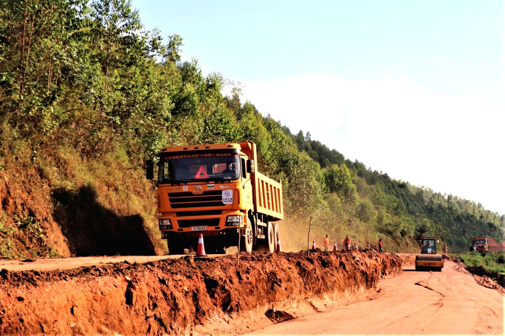 KIGALI, June 3, 2019 - Workers of China's Sinohydro Corporation Limited work at the construction site of the Huye-Kibeho-Munini Road Upgrading Project in Huye district, Southern Province of Rwanda, ...