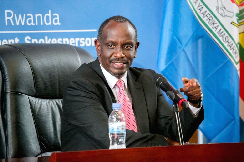 KIGALI, March 5, 2019 - Rwandan Foreign Minister Richard Sezibera speaks at a press conference held by the Rwandan Ministry of Foreign Affairs and International Cooperation in Kigali, capital of ... - Richard Sezibera