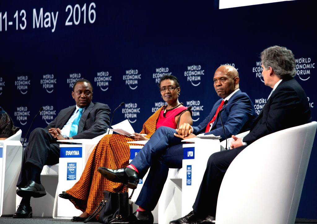 KIGALI, May 12, 2016 - Kenyan President Uhuru Kenyatta (1st L) and other guests attend the World Economic Forum (WEF) on Africa in Kigali, Rwanda, May 11, 2016. The 26th annual WEF on Africa kicked ...
