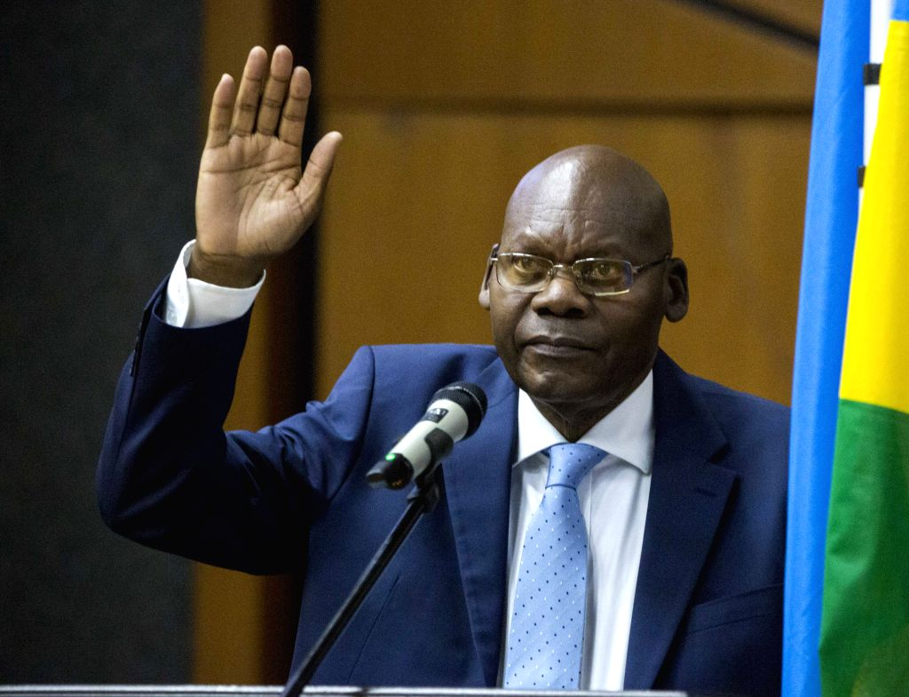 KIGALI, Oct. 17, 2019 - Augustin Iyamuremye is sworn in as president of Senate in Kigali, Rwanda, on Oct. 17, 2019. Rwanda's Senate on Thursday elected new president following a swearing-in ceremony ...